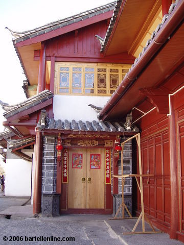 Doorway decorated for the Lunar New Year on a house in the Old Town of Lijiang, Yunnan, China