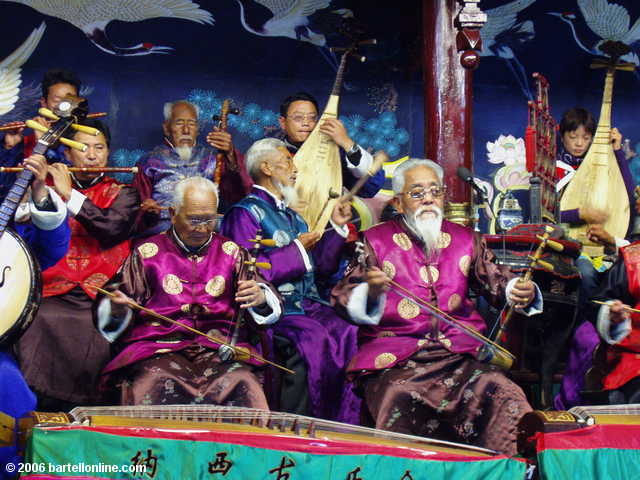 Musicians perform at a Naxi Ancient Music concert in Lijiang, Yunnan, China
