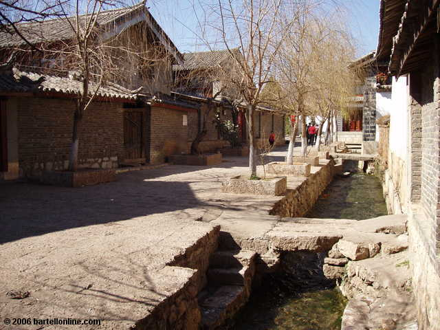 Trees and canal along a residential street in the Old Town of Lijiang, Yunnan, China