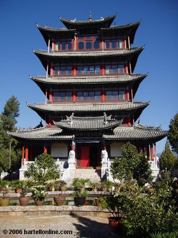 Wangu Pavilion atop Lion Hill in Lijiang, Yunnan, China