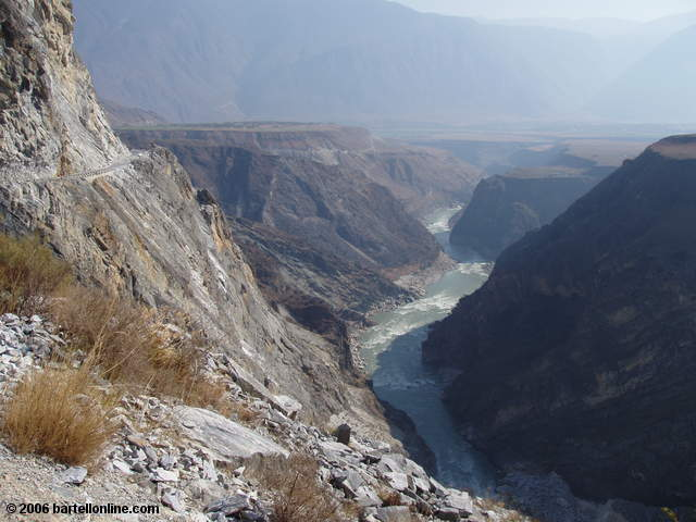 View from the road between Walnut Grove and Daju through Tiger Leaping Gorge in Yunnan, China