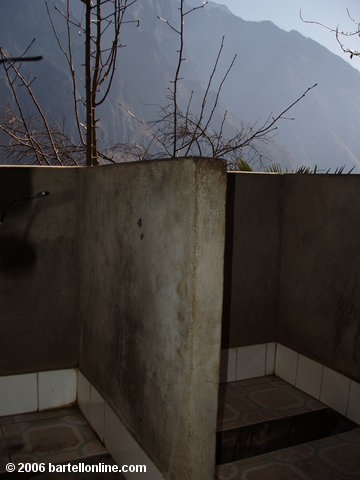 Squat toilets with a view at the Halfway Guesthouse along Tiger Leaping Gorge in Yunnan, China