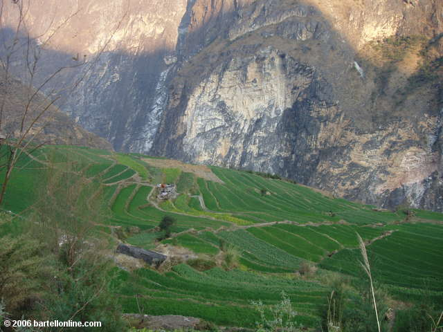 Terraced fields below the town of Walnut Grove along Tiger Leaping Gorge in Yunnan, China