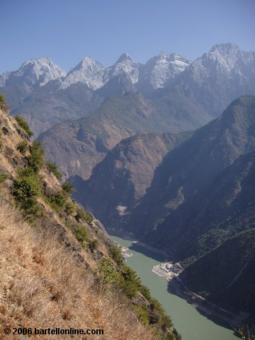 "View from near the top of the ""24 Bends"" in the trail through Tiger Leaping Gorge in Yunnan, China"