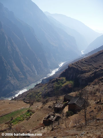 Village along the upper trail through Tiger Leaping Gorge in Yunnan, China