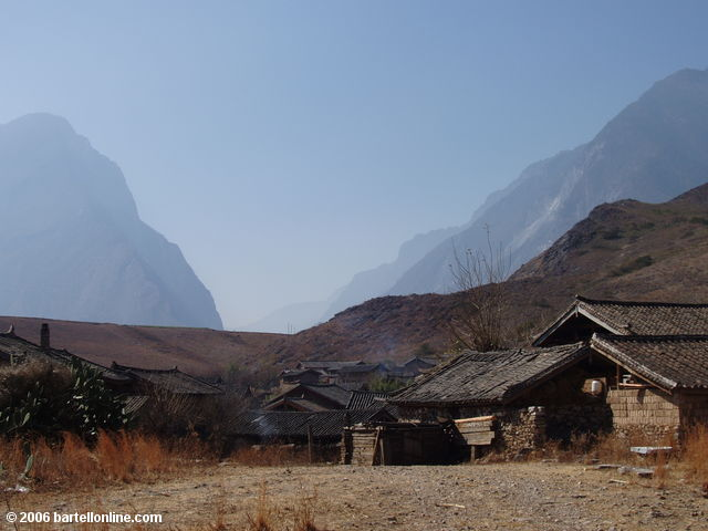 Village leading from the road to the old ferry on the trail through Tiger Leaping Gorge in Yunnan, China