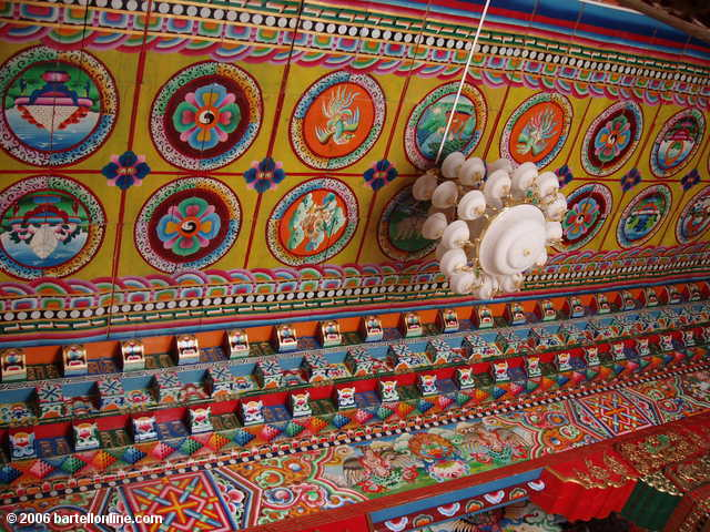 "Colorful ceiling on a building in the Songzanlin Monastery complex near Zhongdian (""Shangri-La""), Yunnan, China"