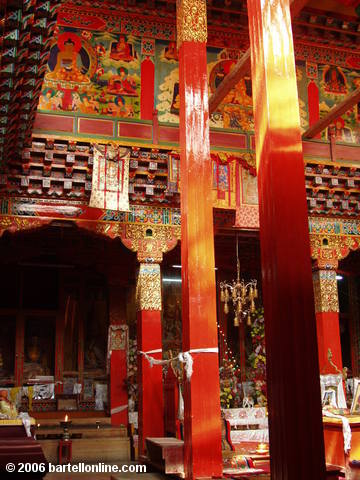 "Colorful interior of a building in the Songzanlin Monastery complex near Zhongdian (""Shangri-La""), Yunnan, China"