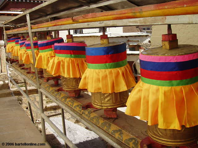 "Buddhist prayer wheels with colorful covers in the Songzanlin Monastery near Zhongdian (""Shangri-La""), Yunnan, China"