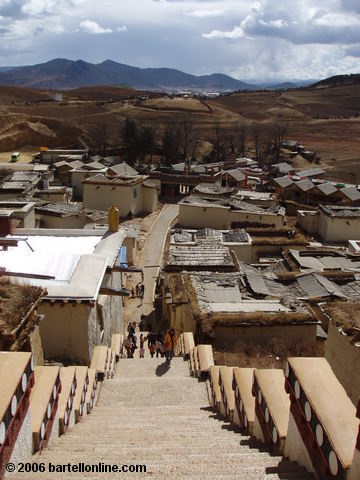 "View towards Zhongdian (""Shangri-La""), Yunnan, China from the top of the stairs in Songzanlin Monastery"
