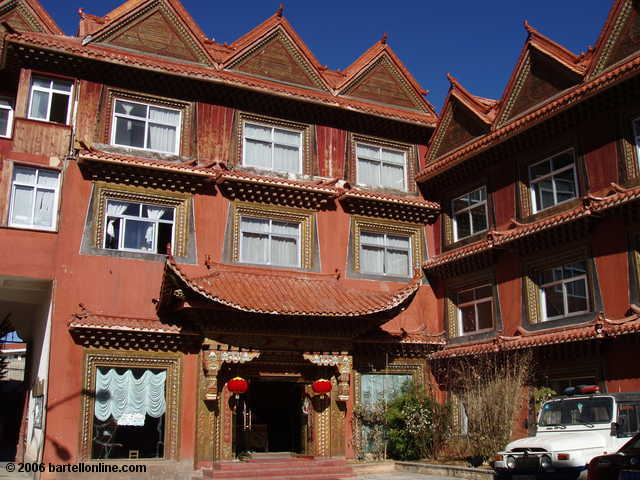 "Exterior of the Long Life Tibetan Hotel in Zhongdian (""Shangri-La""), Yunnan, China"